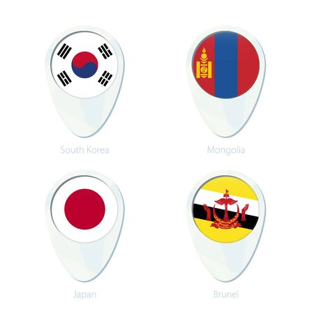 map of brunei: South Korea, Mongolia, Japan, Brunei flag location map pin icon. South Korea Flag, Mongolia Flag, Japan Flag, Brunei Flag. Vector Illustration.