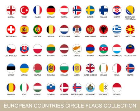 european flags: European Countries Circle Flags Collection. Circle Flags with Shadow. European flags. Vector Illustration.