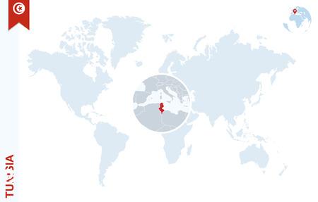 tunisia: World map with magnifying on Tunisia. Blue earth globe with Tunisia flag pin. Zoom on Tunisia map. Vector Illustration Illustration
