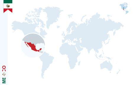 World map with magnifying on Mexico. Blue earth globe with Mexico flag pin. Zoom on Mexico map. Vector Illustration