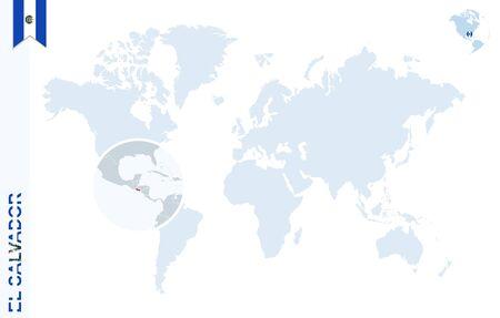 bandera de el salvador: mapa del mundo con lupa sobre El Salvador. planeta tierra azul con El Salvador pin de la bandera. Zoom en el mapa El Salvador. Ilustración del vector