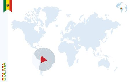 mapa de bolivia: mapa del mundo con lupa en Bolivia. planeta tierra azul con Bolivia pin de la bandera. Zoom en el mapa Bolivia. Ilustraci�n del vector