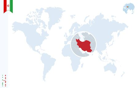 zoom earth: World map with magnifying on Iran. Blue earth globe with Iran flag pin. Zoom on Iran map. Vector Illustration