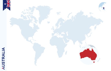 World map with magnifying on Australia. Blue earth globe with Australia flag pin. Zoom on Australia map. Vector Illustration