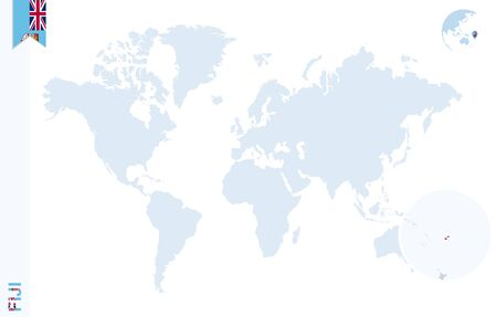 World Map With Magnifying On Fiji. Blue Earth Globe With Fiji ...