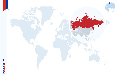World map with magnifying on Russia. Blue earth globe with Russia flag pin. Zoom on Russia map. Vector Illustration