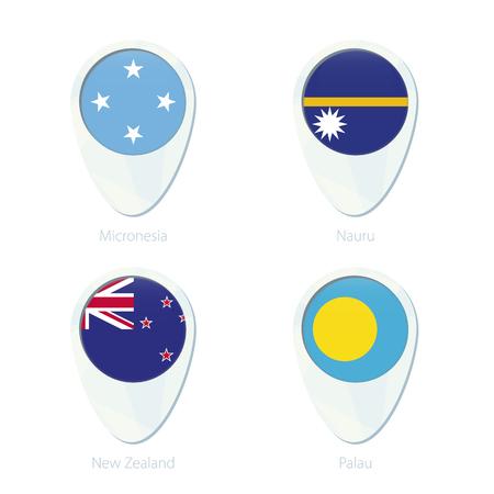bandera de nueva zelanda: Micronesia, Nauru, Nueva Zelandia, Palau ubicación marcador icono de mapa de pines. Bandera de Micronesia, Nauru bandera, bandera de Nueva Zelanda, bandera de Palau. Ilustración del vector.