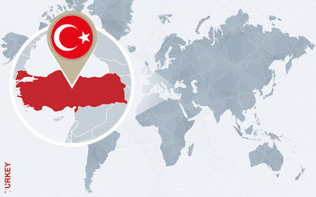 Abstract blue world map with magnified Turkey. Turkey flag and map. Vector Illustration.