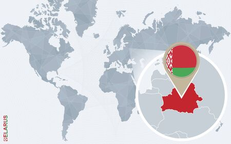 national geographic: Abstract blue world map with magnified Belarus. Belarus flag and map. Vector Illustration. Illustration