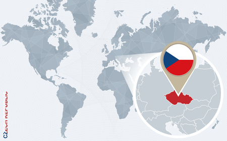 czech republic flag: Abstract blue world map with magnified Czech Republic. Czech Republic flag and map. Vector Illustration.