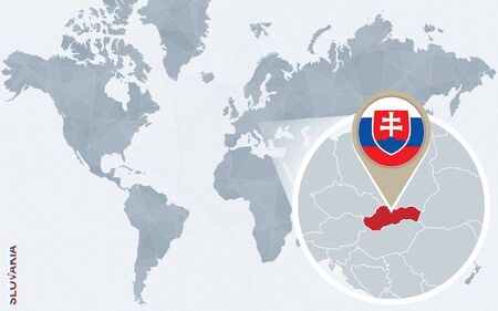 magnified: Abstract blue world map with magnified Slovakia. Slovakia flag and map. Vector Illustration.