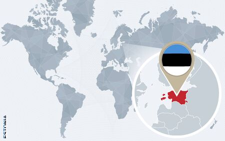 magnified: Abstract blue world map with magnified Estonia. Estonia flag and map. Vector Illustration. Illustration