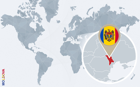 magnified: Abstract blue world map with magnified Moldova. Moldova flag and map. Vector Illustration.