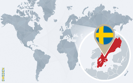 Abstract Blue World Map With Magnified Sweden. Sweden Flag And ...