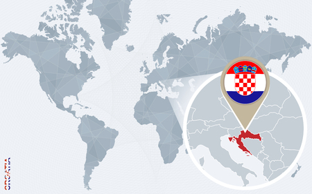 Abstract blue world map with magnified Croatia. Croatia flag and map. Vector Illustration.