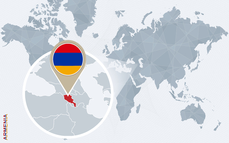 magnified: Abstract blue world map with magnified Armenia. Armenia flag and map. Vector Illustration.