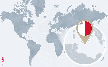 malta flag: Abstract blue world map with magnified Malta. Malta flag and map. Vector Illustration.