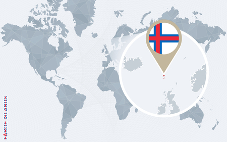 Abstract blue world map with magnified Faroe Islands. Faroe Islands flag and map. Vector Illustration. Illustration