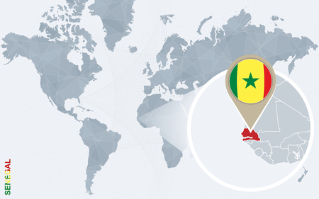 dakar: Abstract blue world map with magnified Senegal. Senegal flag and map. Vector Illustration.