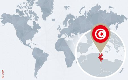 Abstract blue world map with magnified Tunisia. Tunisia flag and map. Vector Illustration.