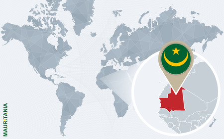 Abstract blue world map with magnified Mauritania. Mauritania flag and map. Vector Illustration.