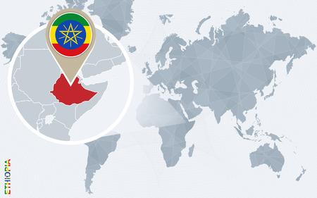topografia: Resumen mapa del mundo azul con Etiopía ampliada. bandera de Etiopía y el mapa. Ilustración del vector.