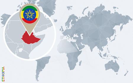 Abstract blue world map with magnified Ethiopia. Ethiopia flag and map. Vector Illustration.