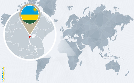 rwanda: Abstract blue world map with magnified Rwanda. Rwanda flag and map. Vector Illustration. Illustration