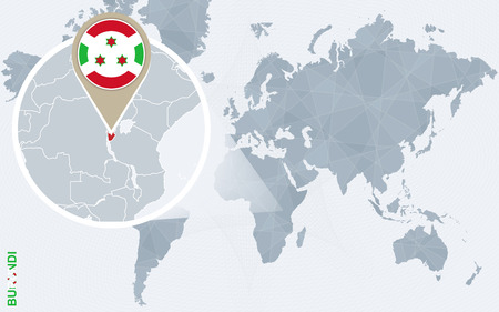 Abstract blue world map with magnified Burundi. Burundi flag and map. Vector Illustration.