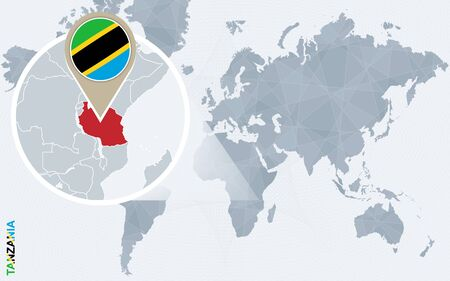 Abstrakte blaue Weltkarte mit vergrößertem Tansania. Tansania Flagge und Karte. Vektor-Illustration.