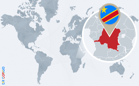 Abstract blue world map with magnified Democratic Republic of the Congo. DRC flag and map. Vector Illustration.