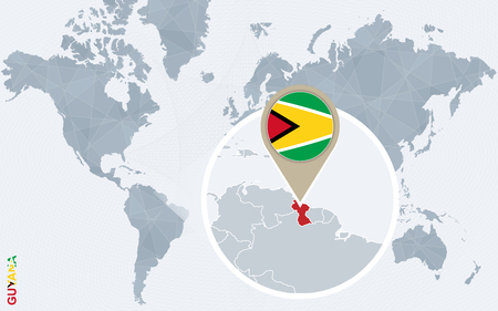 magnified: Abstract blue world map with magnified Guyana. Guyana flag and map. Vector Illustration.