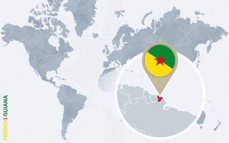 topografia: Resumen mapa del mundo azul con magnificado la Guayana francesa. bandera de la Guayana francés y el mapa. Ilustración del vector.
