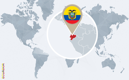 magnified: Abstract blue world map with magnified Ecuador. Ecuador flag and map. Vector Illustration.