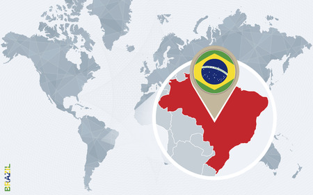 Abstract blue world map with magnified Brazil. Brazil flag and map. Vector Illustration.