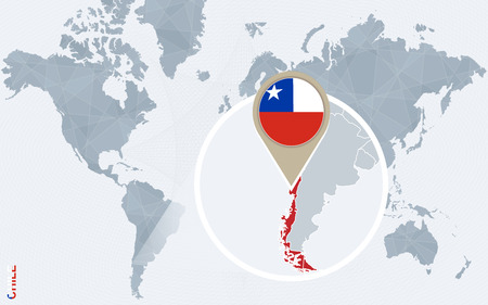magnified: Abstract blue world map with magnified Chile. Chile flag and map. Vector Illustration.