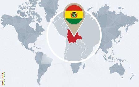 map bolivia: Resumen mapa del mundo azul con magnificada Bolivia. bandera de Bolivia y el mapa. Ilustración del vector.