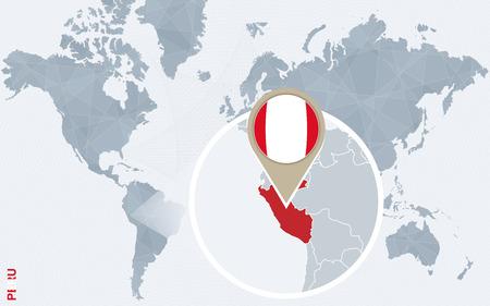 bandera de peru: Resumen mapa del mundo azul con magnificada Perú. bandera de Perú y el mapa. Ilustración del vector.