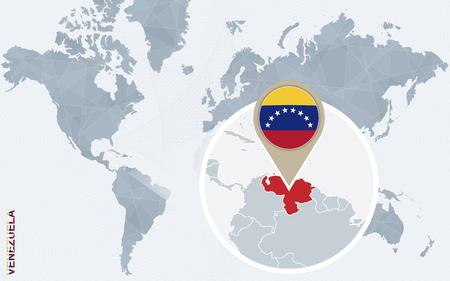 mapa de venezuela: Resumen mapa del mundo azul con Venezuela ampliada. bandera de Venezuela y el mapa. Ilustraci�n del vector. Vectores