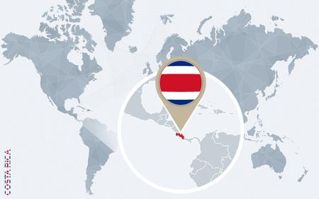 bandera de costa rica: Resumen mapa del mundo azul con magnificada Costa Rica. bandera de Costa Rica y el mapa. Ilustraci�n del vector.