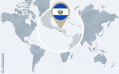 bandera de el salvador: Resumen mapa del mundo azul con magnificada El Salvador. bandera de El Salvador y el mapa. Ilustración del vector. Vectores