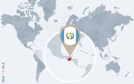 bandera de guatemala: Resumen mapa del mundo azul con Guatemala ampliada. bandera de Guatemala y el mapa. Ilustraci�n del vector.