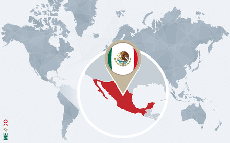 Abstract blue world map with magnified Mexico. Mexico flag and map. Vector Illustration.  イラスト・ベクター素材