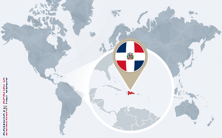 Abstract blue world map with magnified Dominican Republic. Dominican Republic flag and map. Vector Illustration.