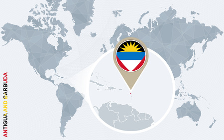 antigua: Abstract blue world map with magnified Antigua and Barbuda. Antigua and Barbuda flag and map. Vector Illustration.
