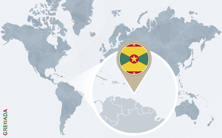grenada: Abstract blue world map with magnified Grenada. Grenada flag and map. Vector Illustration.
