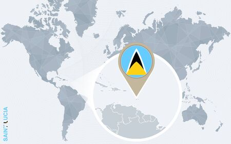 windward: Abstract blue world map with magnified Saint Lucia. Saint Lucia flag and map. Vector Illustration.