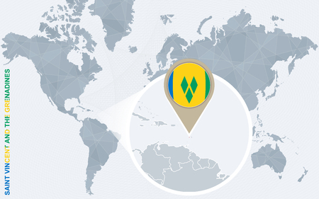 Abstract blue world map with magnified Saint Vincent and the Grenadines. Saint Vincent and the Grenadines flag and map. Vector Illustration. Illustration