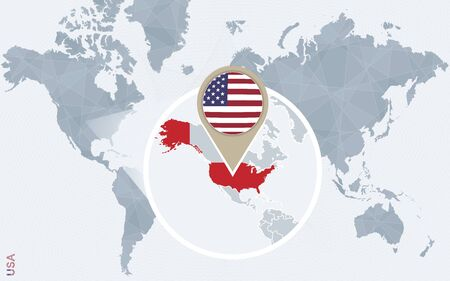 magnified: Abstract blue world map with magnified USA. United States of America flag and map. Vector Illustration.