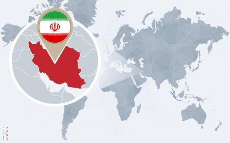 Abstract rounded world map with pinned detailed iran map vector resumen mapa del mundo azul con irn ampliada irn bandera y el mapa ilustracin gumiabroncs Gallery